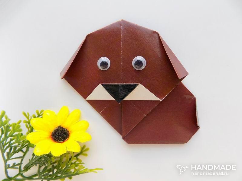 Как сделать из бумаги собачку оригами