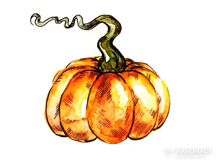 Рисунок тыквы акварелью
