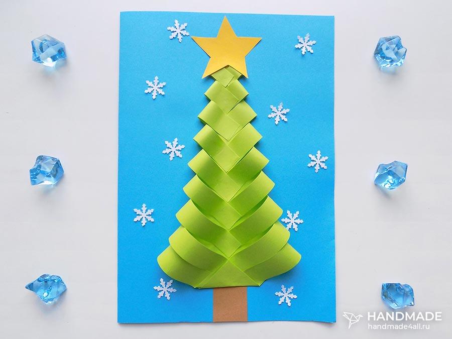Новогодняя открытка «Ёлочка» своими руками