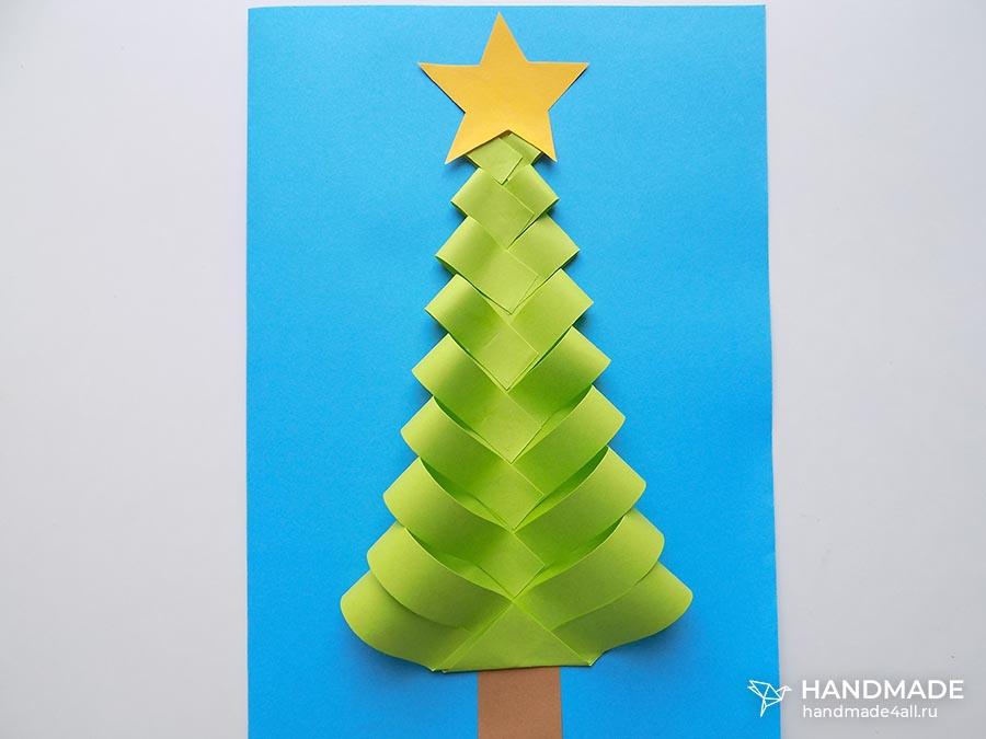 Новогодняя открытка Ёлочка своими руками