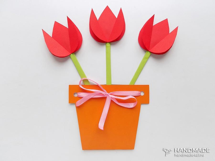 Открытка на 8 Марта Цветы мастер-класс