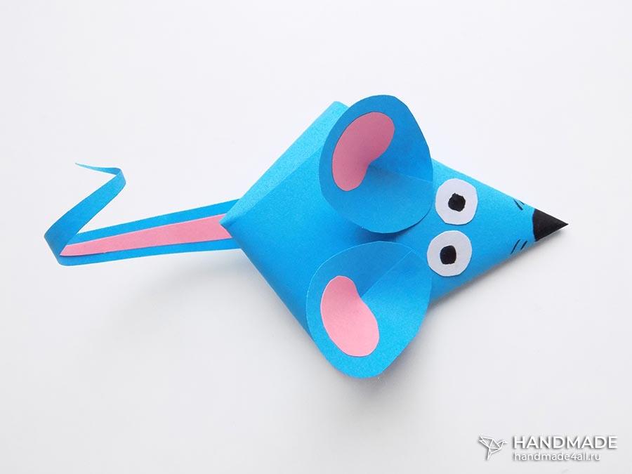 мышь из цветной бумаги своими руками, поделка для детей